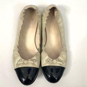 Chanel Cream Black Toe CC Bow Flats